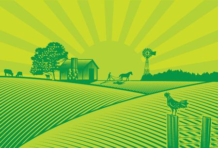 Ilustración de Organic farming silhouette in woodcut style - Imagen libre de derechos