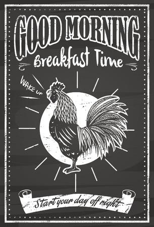 Illustration for Vintage good morning blackboard - Royalty Free Image