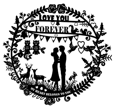 Illustration pour Paper cut arts - silhouette of man and woman hugging and animals couple with text love you forever  - image libre de droit