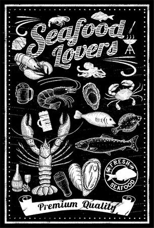Set of hand drawn seafood on blackboard