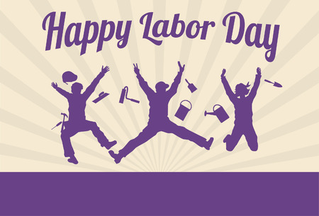 Illustration pour Silhouette of happy workers jumping with text happy labor day  - image libre de droit