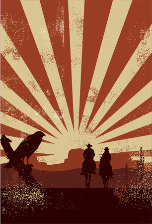 Illustration pour Cowboy silhouette vector - image libre de droit
