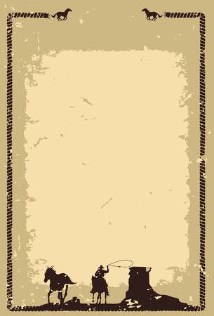 Illustration pour Cowboy chasing wild horse background vector - image libre de droit