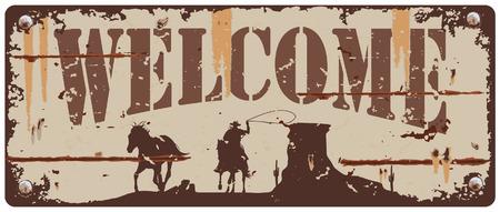 Illustration pour Vintage tin sign cowboy chasing horse - image libre de droit