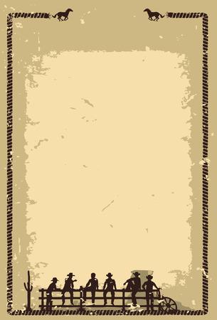 Illustration pour Silhouette of cowboys sitting on fence - image libre de droit