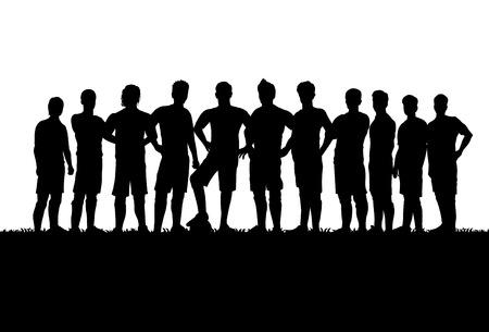 Illustrazione per Silhouettes of soccer team - Immagini Royalty Free