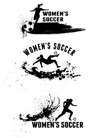 Silhouette of female soccer players on splash stains background