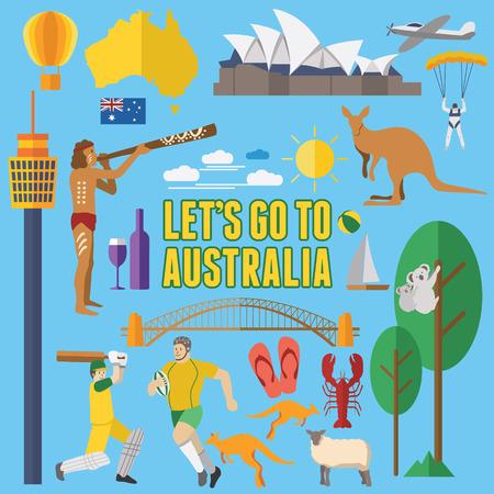 Illustration for Flat design Australia Icons - Royalty Free Image