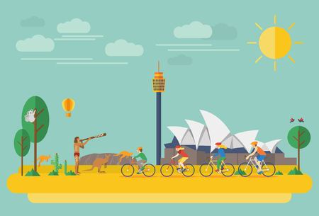 Illustration for Happy family riding bicycles in Australia. Flat Illustration, all objects are grouped. - Royalty Free Image