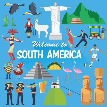 Illustration for Flat design, Illustration of South America landmarks and icons - Royalty Free Image
