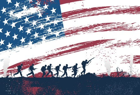 Illustration for Silhouette of soldiers fighting at war with American flag as a background - Royalty Free Image
