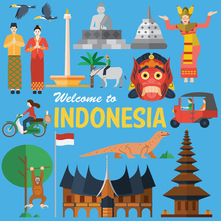 Illustration pour Flat design, Illustration of Indonesia Icons and landmarks - image libre de droit