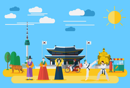 Illustration pour Flat design, Illustration of Korean landmarks and icons - image libre de droit