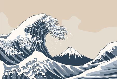 Ilustración de The great wave, japan background. hand drawn illustration - Imagen libre de derechos