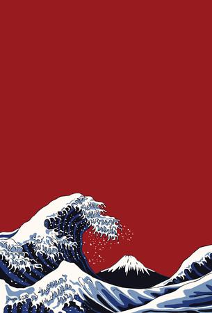 Illustration pour Ocean waves, Japanese style illustration - image libre de droit