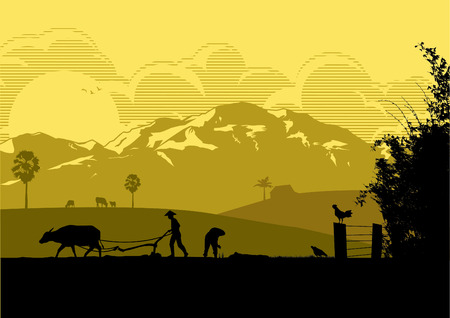 Illustration for Illustration of farmers are plowing with buffalo and planting rice in the farm at sunset. - Royalty Free Image