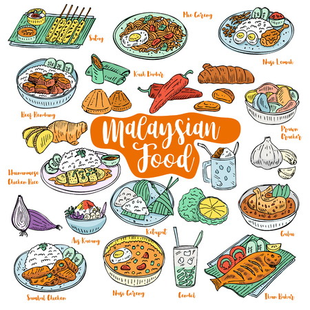 Ilustración de Hand drawn Malaysian food doodles, Vector - Imagen libre de derechos
