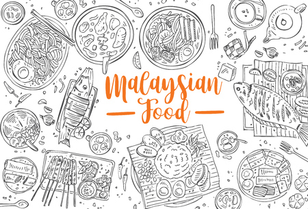 Illustration pour Hand drawn Malaysian food, Top view Asian Food background, Vector - image libre de droit