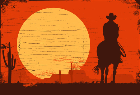 Illustrazione per Silhouette of lonesome cowboy riding horse at sunset, Vector Illustration - Immagini Royalty Free