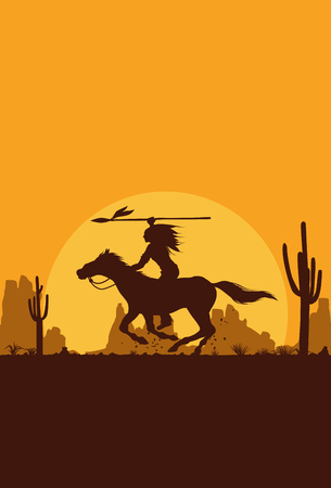 Illustration for Silhouette of Native American Indian riding horseback, Vector - Royalty Free Image
