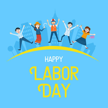Illustration pour Labor Day Banner, People with different Occupation, Vector Illustration - image libre de droit