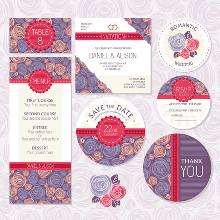 Illustration pour Set of floral wedding cards vector illustration - image libre de droit