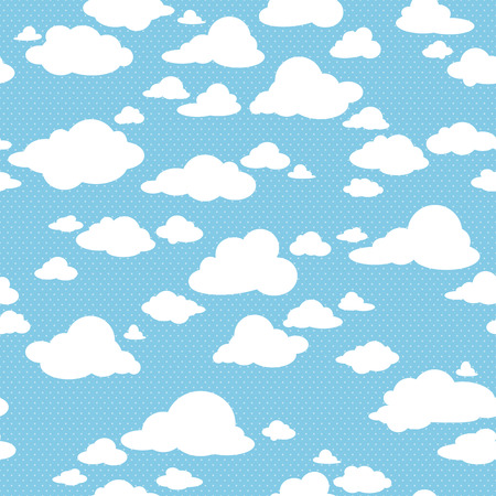 Photo pour Blue sky with clouds, vector seamless pattern - image libre de droit