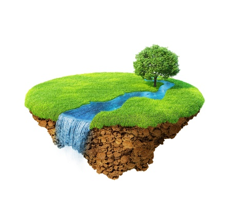 Idyllic natural landscape. Lawn with river, waterfall and one tree. Fancy island in the air isolated. Detailed ground in the base. Concept of success and happiness, idyllic ecological lifestyle. Series.
