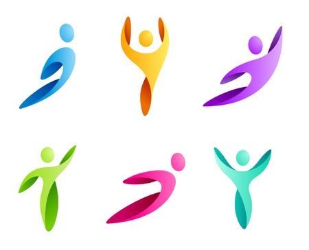 Logo Business Abstract. Sport man icon set. Flying, rushing activity. Vector.