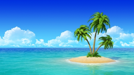 Photo for Desert tropical island with palm tree  Concept for rest, holidays, resort  - Royalty Free Image