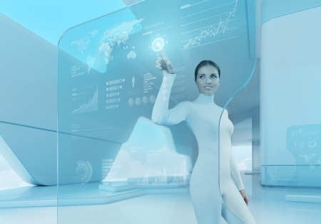 Photo for Future technology touchscreen interface Girl touching screen interface in hi-tech interior Business lady pressing virtual button in futuristic office  - Royalty Free Image
