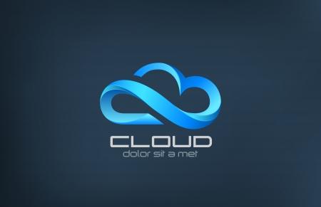 Illustration pour Cloud computing icon vector logo design template  Creative business concept  processing in the clouds service  Technology idea  - image libre de droit