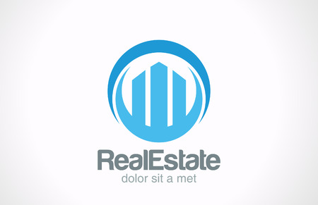 Real Estate Logo icon design template  Skyscrapers abstract creative concept symbol Business Commercial property Realty vector sign
