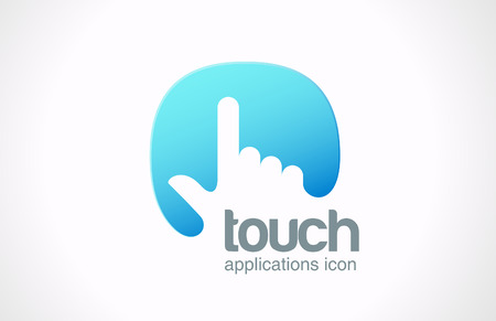 Illustration pour Logo Touch screen technology abstract vector icon design template Hand finger press on touchscreen creative concept symbol  - image libre de droit