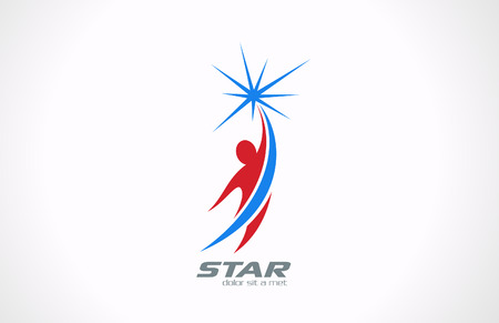 Illustration for Sport Fitness Business Corporate logo icon design template Man flying and getting Star  Success creative concept  - Royalty Free Image