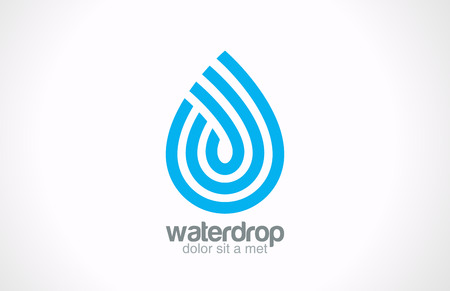 Illustration pour Water drop abstract vector logo design  Line art creative concept Waterdrop blue clean clear aqua symbol  - image libre de droit