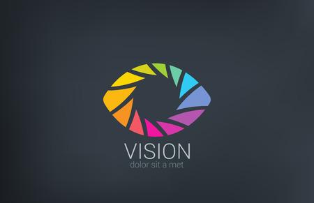 Illustration pour Eye shutter vector logo design template  Photo video shooting concept Creative photography icon  - image libre de droit