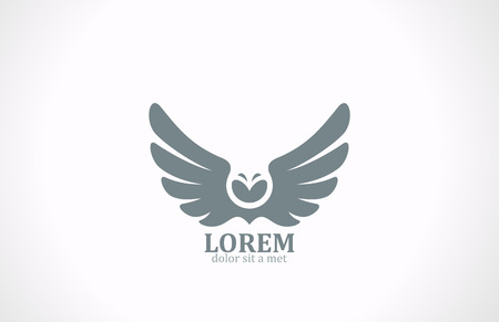 Illustration for Bird wings abstract vector logo design template  Flying Owl icon Luxury vintage eagle falcon emblem  - Royalty Free Image