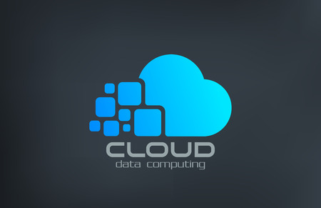 Photo for Cloud computing technology vector logo design template. Data transfer creative concept icon. - Royalty Free Image
