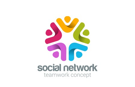 Illustrazione per Social Team Network Logo design vector. Teamwork logotype. Partnership, Community, Leadership concept. People holding hands icon. - Immagini Royalty Free