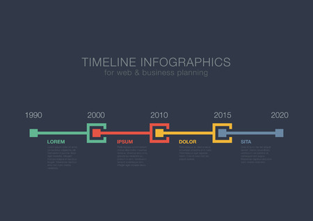 Illustration pour Timeline Infographics squares vector design template for financial reports, media, website, blog, infographic statistics. Editable. - image libre de droit