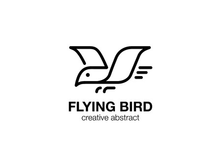 Flying Bird Logo abstract design linear outline vector template. Geometric style Eagle Falcon Logotype lineart concept icon.