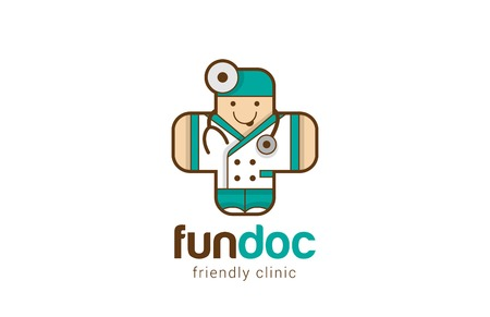 Illustration pour Funny Friendly Doctor Logo Medical Cross shape design vector template. Therapist icon. Children medical clinic Logotype concept. Healthcare with Fun. - image libre de droit