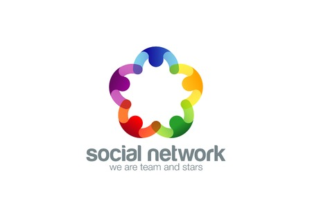 Ilustración de Social network Logo design vector template with abstract characters. People holding hands in circle Friendship, Partnership, Cooperation, Teamwork, Family logotype concept icon. Five point star. - Imagen libre de derechos
