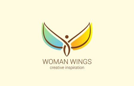 Illustration pour Flying Woman with Wings Logo abstract design vector template. Creative concept for Women's Shop: how to make woman happy. Angel logotype icon. - image libre de droit