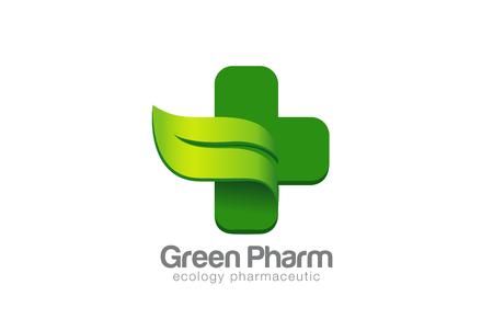 Ilustración de Green Eco Pharmacy Medical Cross Logo design vector template. Ecology Medicine Logotype concept. Green Leaf natural symbol. - Imagen libre de derechos