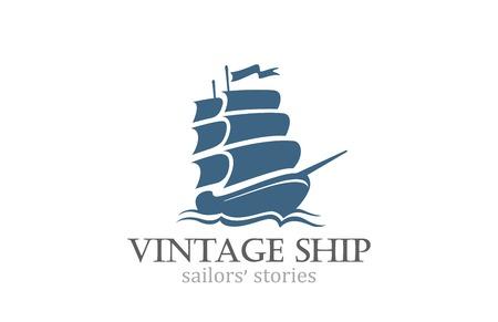 Illustration pour Vintage Ship Logo Sailing Boat design vector template. Ancient Pirate Sailboat Logotype silhouette concept icon. - image libre de droit
