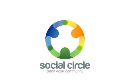 Ilustración de Social Team work Logo design vector template with abstract characters. People holding hands in circle Friendship, Partnership, Cooperation, Team logotype concept icon. - Imagen libre de derechos