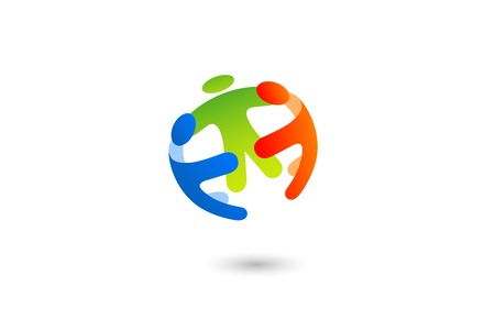 Ilustración de Social Team work Sphere Logo design vector template with abstract characters. People holding hands: Friendship, Partnership, Cooperation, Family logotype concept icon. - Imagen libre de derechos