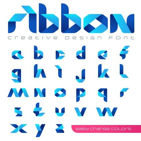 Ilustración de Ribbon Font vector Creative Design hitech style. ABC tape origami. Alphabet lowercase letters. Use for Logo. - Imagen libre de derechos